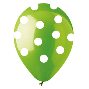 Lime Green with White Polka Dot Latex All-Around Print