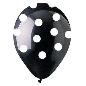 Black with White Polka Dot Crystal Latex All-Around Print