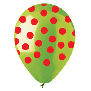 Lime Green w/Red Polka Dots Latex All-Around Print