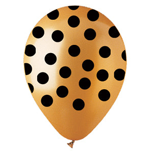 Gold with Black Polka Dot Latex All-Around Print