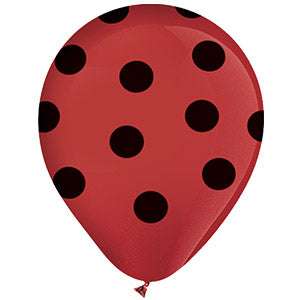 Red with Black Polka Dots Latex All-Around Print
