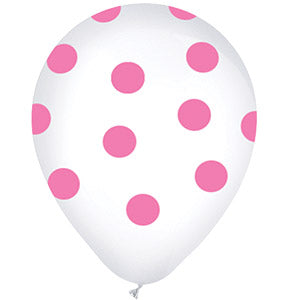White with Pink Polka Dots Latex All-Around Print