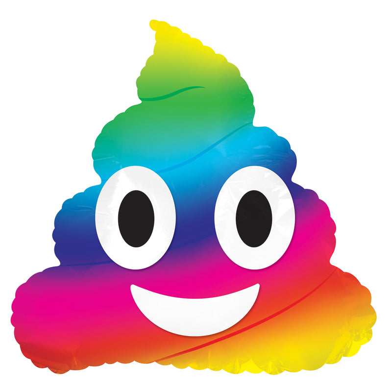 Rainbow Poop Emoticon Air-Filled Stick Balloon