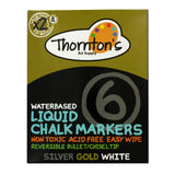 Thornton's Art Supply Liquid Chalk Markers with Reversible Tips, White, Gold & Silver, Pack of 6