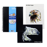 Thornton's Art Supply 8.5 in x 11 in Artist Spiral Perforated Sketch Pad, Black & White Pages, 100 Sheets