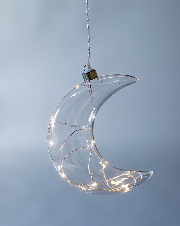 Clear Crescent Moon Hanging Glass Light