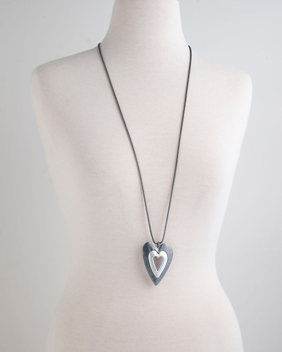 Necklace - Metal Heart Gun Metal and Silver Colouring