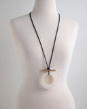 Necklace - Black Cord with Large Resin Circle