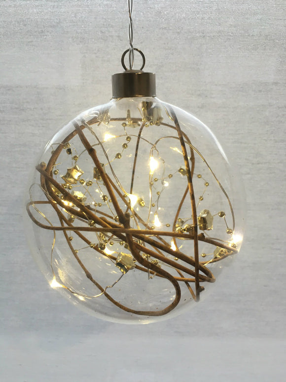 Clear Sphere Hanging Glass Light with Gold Beads, Stars & Twigs