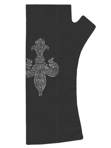 Merino Gloves - Fingerless Fleur-de-lis Print Black by Kate Watts