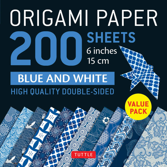 Origami Paper 200 sheets Blue and White (15 cm): Tuttle Origami Paper