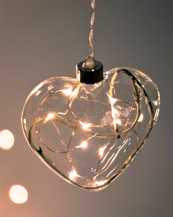 Clear Heart Hanging Glass Light with Twigs