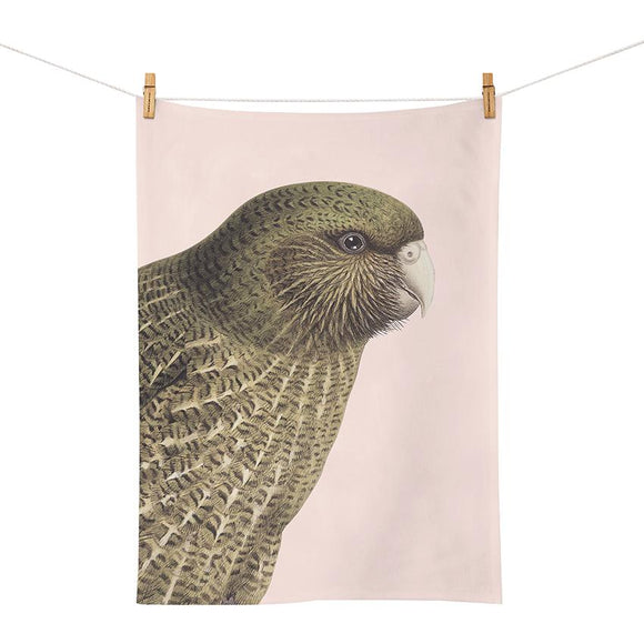 Hushed Pink Kakapo - Tea Towel
