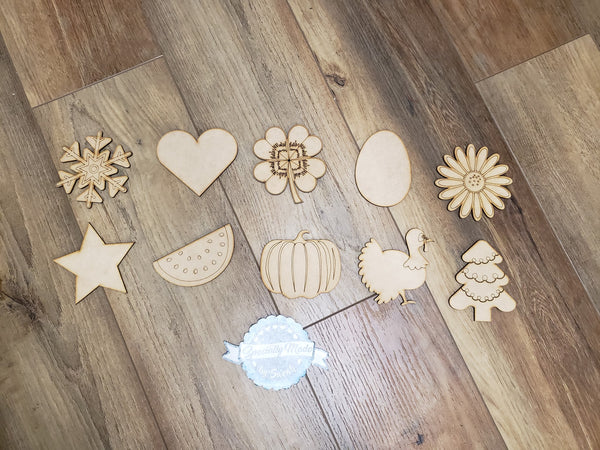 Interchangeable Wooden TAKE and MAKE Seasonal Kit