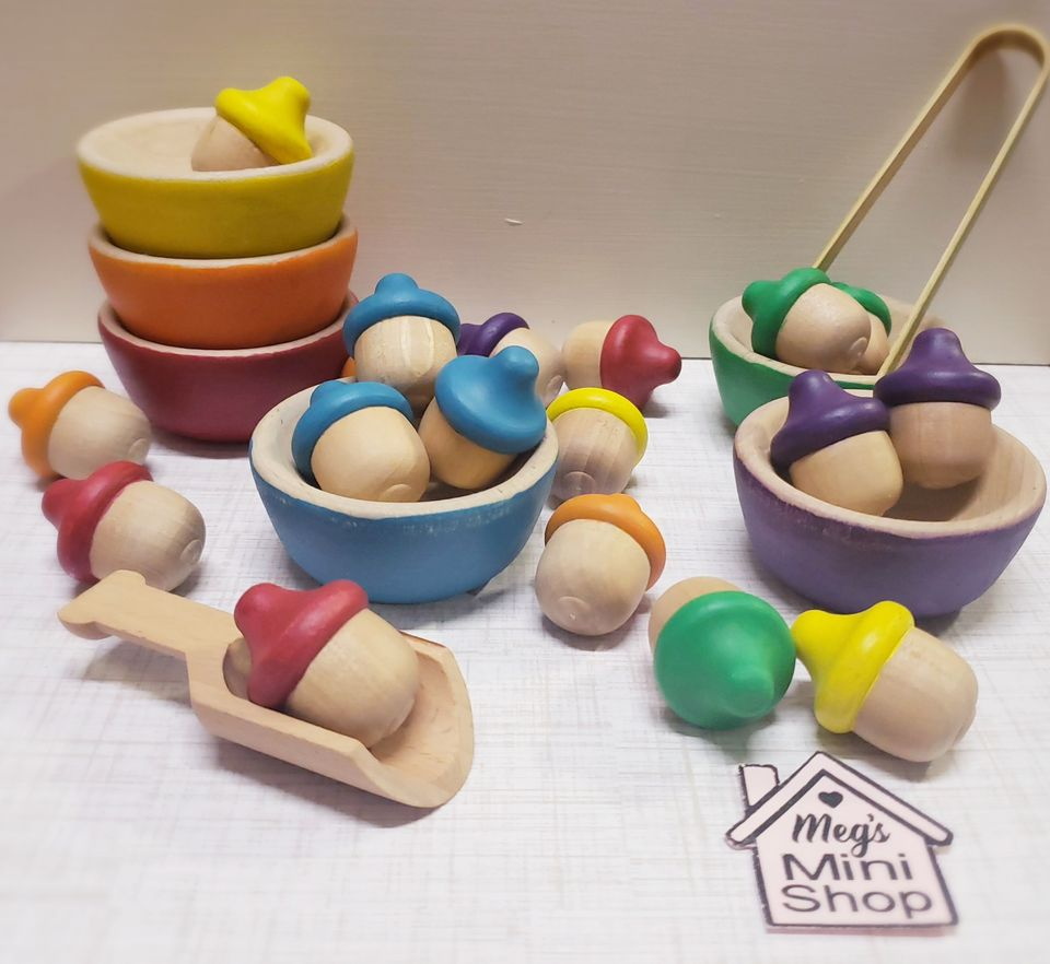 Handmade Wooden Acorn and Bowl Sorting and Counting Set