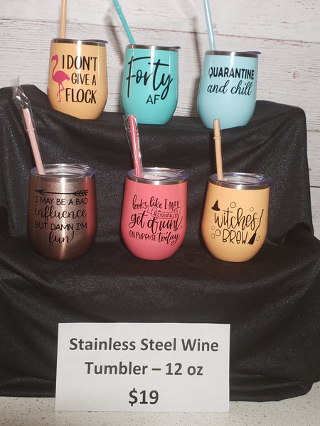 12oz Stainless Steel Wine Tumbler