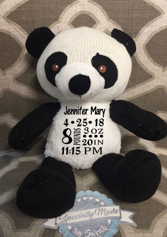 Panda with Interior Rattle – Birth Stats Tummy