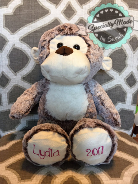 Monkey Plush Stuffed Animal with Personalized Feet
