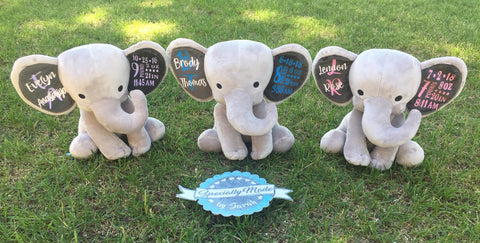 Medium (12″) Stuffed Elephant with Name and Birth Stats on Ears