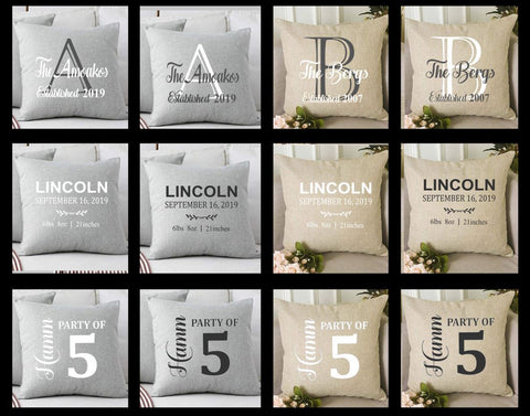 "18""x18"" Personalized Throw Pillow"