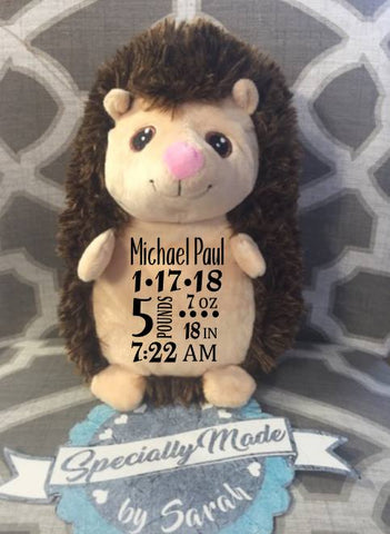 Hedgehog Birth Stats Plush Animal