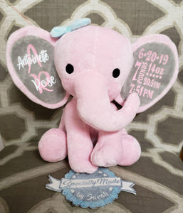 Medium (12″) Stuffed Girl Elephant with Name and Birth Stats on Ears