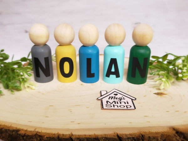 Handmade Personalized Name Peg Dolls
