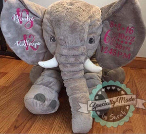 Large (24″) Stuffed Elephant with Name and Birth Stats on Ears