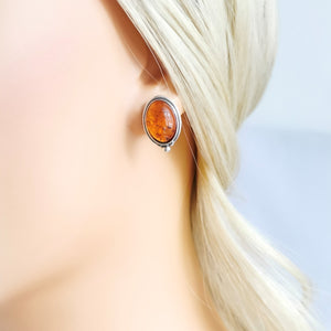 Statement Amber Stone Stud Earrings