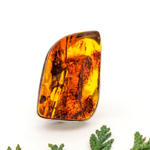 Chunky Large Amber Stone Unique Ring