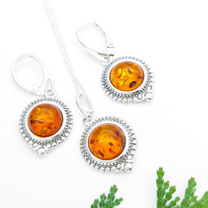 Dainty Sterling Silver Amber Pendant Earrings Set