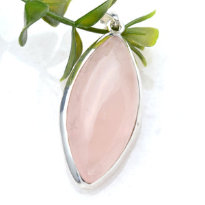 Large Rose Quartz Teardrop in Simple Sterling Silver Necklace, Pink Gemstone in Modern Silver Pendant