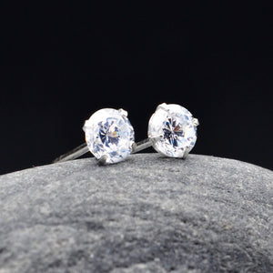 Diamond Style Earrings, Dot Silver Stud, Rock Quartz Dainty Studs, Clear Gemstone Sterling Silver Studs, Handmade Small Clear Silver Studs
