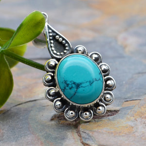 Oval Turquoise in Sterling Silver Pendant, Filigree Bohemian Silver Gemstone Necklace