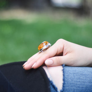 Gigantic Amber Gemstone Chunky Ring Adjustable Size O Q S 7 8 9