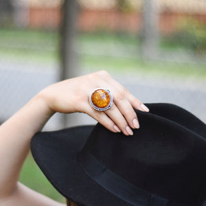 Adjustable Ring, Amber Chunky Ring, Baltic Amber Ring, Statement Ring, Gemstone Ring, Unique Ring, Birthstone Jewelry, Size O Q S 7 8 9