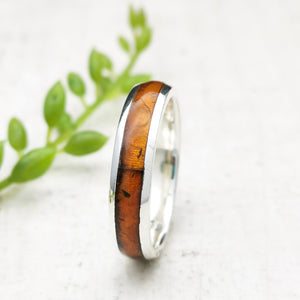 Minimalist Silver Band Simple Amber Ring