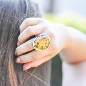 Baltic Amber Ring, Statement Ring, Unique Ring, Amber Ring, Chunky Ring, Natural Stone Ring, Sterling Silver Ring, Gemstone Ring, Size 8.5 R