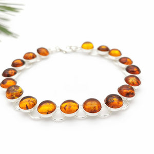 Elegant Baltic Amber Sterling Silver Tennis Bracelet, Dainty Bracelet, Simple Amber Stone Silver Bracelet, Orange Gemstone Bracelet for Mom
