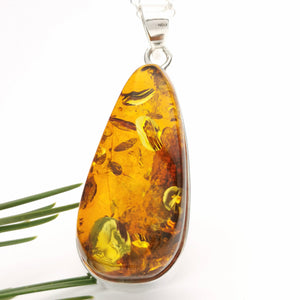 Simple Large Amber Teardrop Pendant Necklace