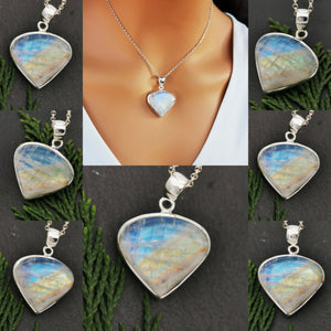 Moonstone Crystal in Simple Statement Teardrop Necklace