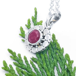 Dainty Silver Flower Ruby Necklace