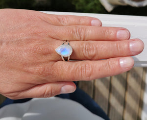 Dainty Moonstone Crystal Ring, Minimalist Teardrop Moonstone Promise Ring, Birthstone Jewelry, Gemstone Ring, Sterling Silver Ring 8 8.5 Q R