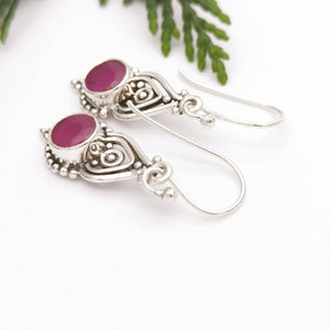 Birthstone Jewelry, Ruby Gemstone Dangle Earrings, Ruby Dangle Earrings, Crystal Earrings, Boho Earrings, Vintage Earrings, Gifts for Her
