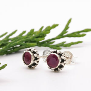 Ruby Birthstone Stud Boho Jewelry
