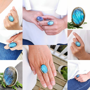 Large Oval Labradorite Simple Silver Ring, Adjustable Big Labradorite Gemstone Ring, Blue Crystal Sterling Silver Ring, Chunky Ring, 6 7 8 9