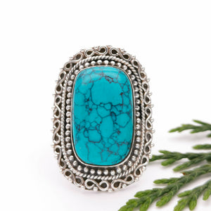 Vintage Turquoise Gemstone Silver Ring, Sterling Silver Statement Turquoise Crystal Ring, Boho Ring, Birthstone Jewelry, Gift for Her,  9 R