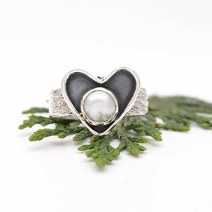 Dainty Heart Gemstone Pearl Ring Size 7 N O