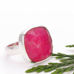Simple Ruby Crystal Modern Ring, Size 6.5 M N