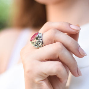 Ruby Ring, Boho Ring, Gemstone Ring, Birthstone Jewelry, Gift for Her, Vintage Ring, Sterling Silver Ring, Statement Ring, 6 7 8 9 M O Q R S